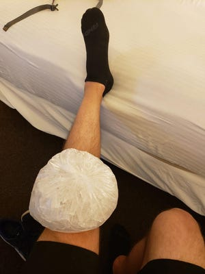 Morristown gym owner Matt Scarfo ices his knee as he runs over 260 miles from Morristown to Washington D.C.