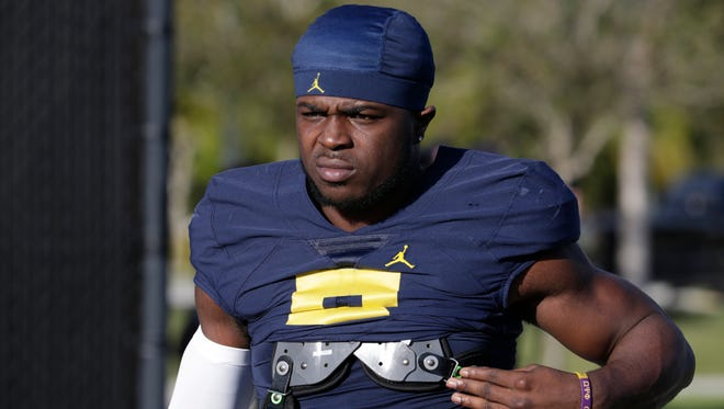 Michigan linebacker Jabrill Peppers arrives for  practice on Tuesday.