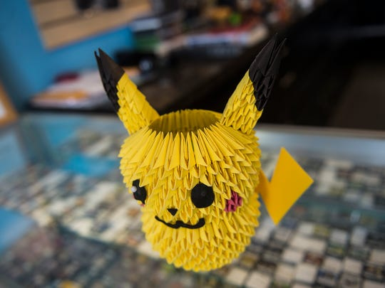 A Pikachu replica is kept near the front desk at Press Start Games in Hanover.