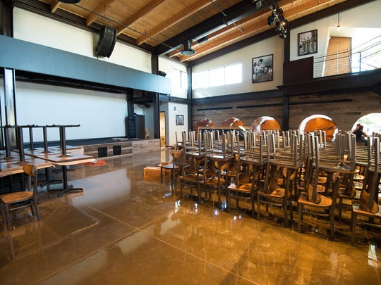 The stage (left) at the new Dogfish Head brewpub on Rehoboth Avenue will host rockers Pet Cheetah Friday night.