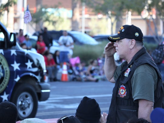 Robert Boswick, a former sniper in the U.S. Marine Corps Force Reconnaissance, attends the Phoenix Veterans Day Parade on Nov. 11, 2017.
