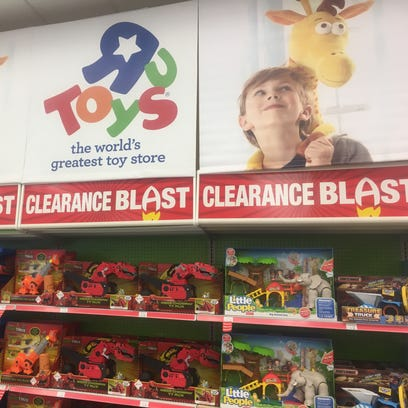 An after-Christmas clearance sale at a Toys R Us store