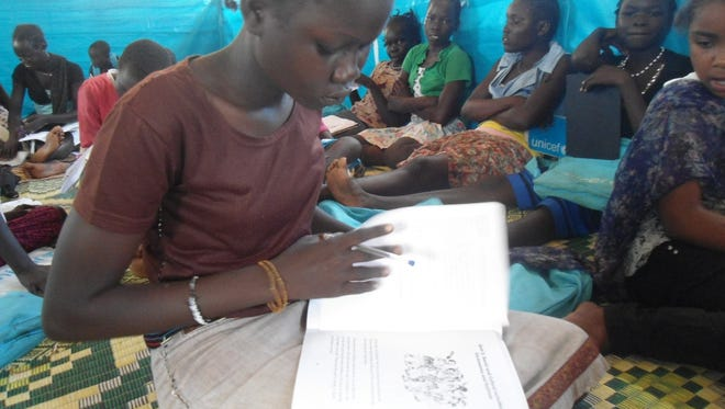 This girl attends school in the Mahad refugee camp near Juba, South Sudan.