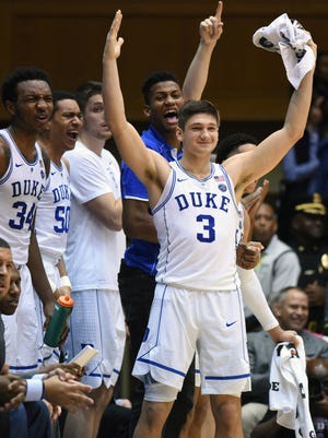 Dec 20, 2017; Durham, NC, USA; Duke Blue Devils guard Grayson Allen(3) reacts to a play during the second half against the Evansville Purple Aces at Cameron Indoor Stadium.