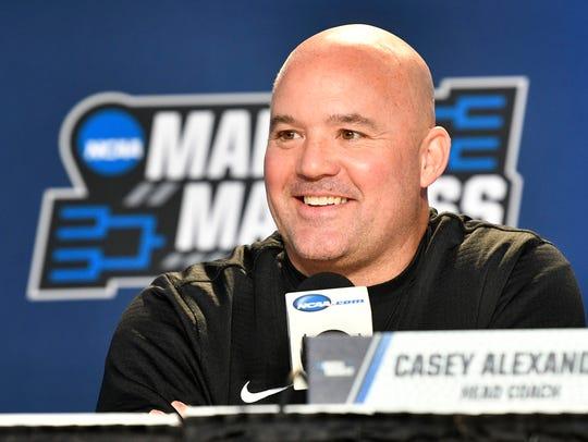 Lipscomb Head Coach Casey Alexander talks during a