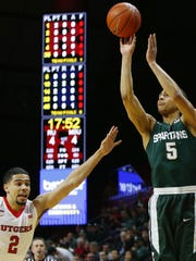 Bryn Forbes hit a Big Ten-record 11 3-pointers  this