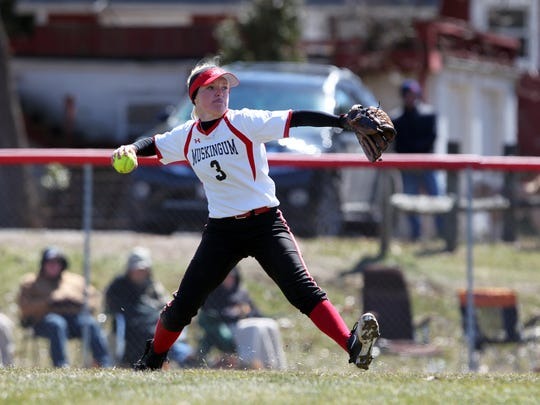 Muskingum University junior Krissy Hughes, a Licking Valley graduate, throws from the outfield during a recent game at Donna Newberry Field.