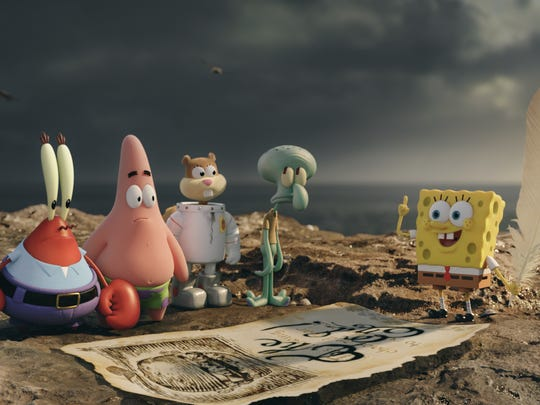 Mr. Krabs, from left, Patrick Star, Sandy Cheeks, Squidward Tentacles, and SpongeBob SquarePants come ashore in The SpongeBob Movie: Sponge Out of Water.