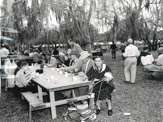 The dedication ceremony of Wesley Seale Dam on April 16, 1958, featured a South Texas barbecue. More than 6,000 people attended and were served about 9,000 pounds of barbecue.