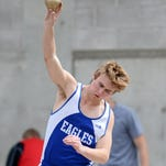 Fairfileld's Andrew Wambach competes in the shot put during a track meet at Memorial Stadium on Saturday.