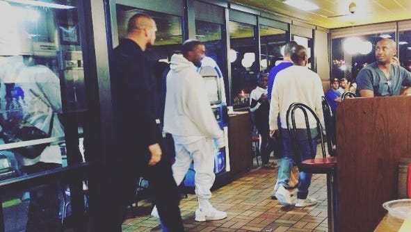Kanye West stopped by the Waffle House on Murfreesboro Road in Nashville on Saturday,