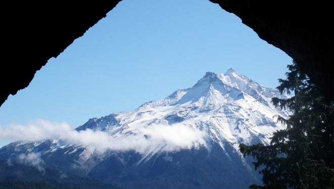 Mount Jefferson is seen from Boca Cave off the Triangulation Peak Trail in the Mount Jefferson Wilderness.