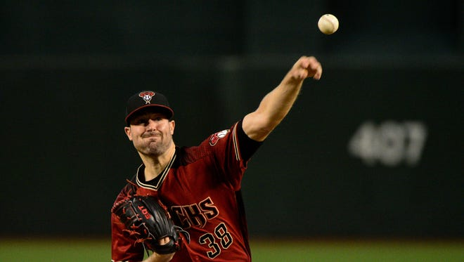 Jul 23, 2017: Arizona Diamondbacks starting pitcher Robbie Ray (38) throws a pitch during the first inning against the Washington Nationals at Chase Field.