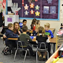 Kindergarten students gather in a classroom at Pine Meadow School in Sartell.