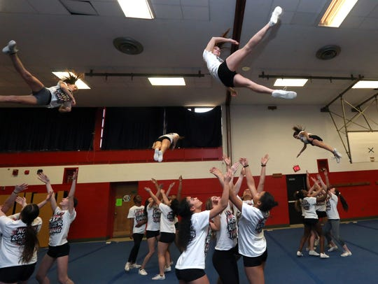North Rockland cheerleaders practice at the High School