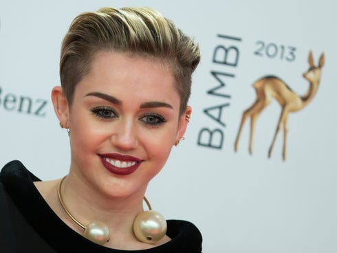 Miley Cyrus arrives for the Bambi 2013 media awards in Berlin.