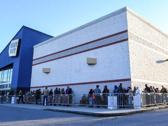 Black Friday shoppers line up for the opening of Best Buy in Anderson on Thursday, as the store was about to open at 5 p.m.