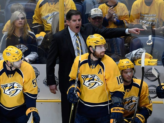 Nashville Predators head coach Peter Laviolette yells