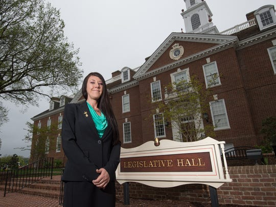 Zoe Patchell, executive director of Delaware Cannabis Advocacy Network, stands for a portrait at Legislative Hall in Dover. A registered lobbyist, Patchell is one of four leading advocates for marijuana law reform in the state.