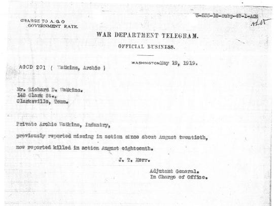 The War Department telegram informing the family of