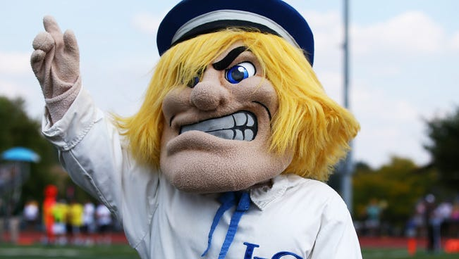 Lebanon Valley College Mascot  on the sideline against Stevenson University at Arnold Field on September 19, 2015. LEBANON DAILY NEWS - JEFF PITTENGER