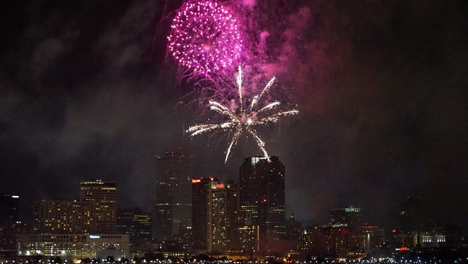 New Orleans celebrates New Year's Eve all day, with museum events, parades, fireworks and a fleur-de-lis drop.