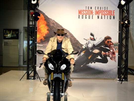 "Geofrey Wolfe on a motorcycle Tom Cruise rode in ""Mission"
