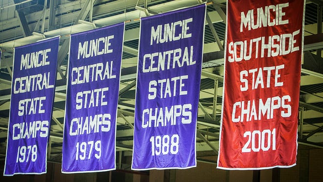 Basketball state champion banners from Central and Southside now hang alongside each other in the Muncie Fieldhouse.