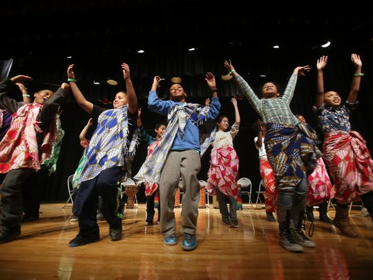 Students from Bradley Academy perform a Ghanian dance
