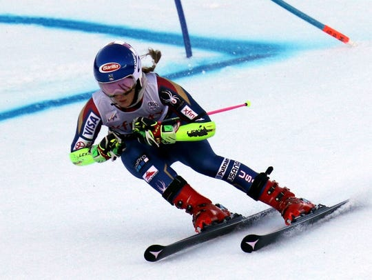 Mikaela Shiffrin competes in the first run at the women's