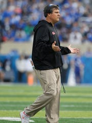 Ole Miss Rebels head coach Matt Luke reacts during the game against the Kentucky Wildcats in the first haff at Commonwealth Stadium.