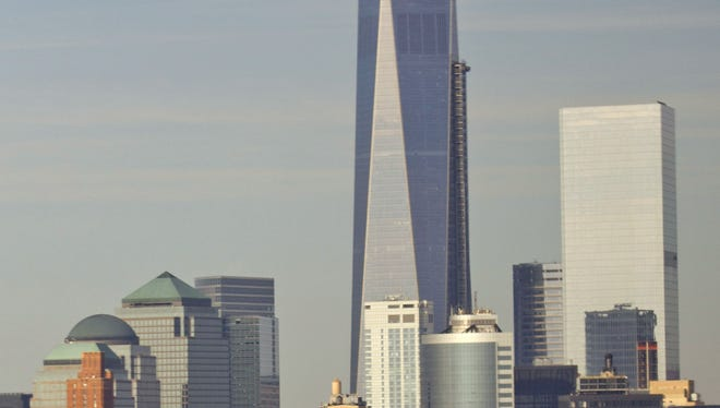 The 1,776-foot One World Trade Center is seen on Tuesday, March 11, 2014 in New York. (AP Photo/Pablo Martinez Monsivais)
