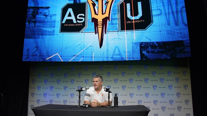 Arizona State Sun Devils coach Todd Graham speaks during Pac-12 media day at Hollywood & Highland on July 27, 2017.