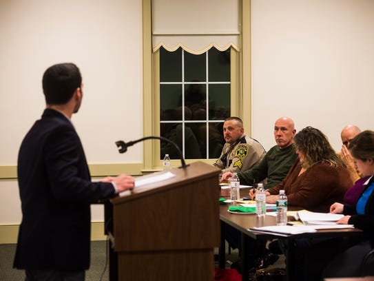Members of Biglerville Borough Council listen to Gettysburg