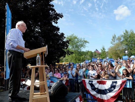 Sen. Bernie Sanders, I-Vt., speaks at an organizing