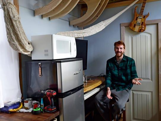 The inside of Cody Makarevitz's tiny home in Mt. Joy
