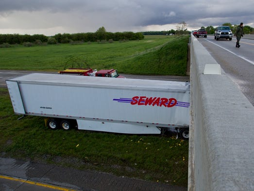 A semitrailer ran into the Indiana 341 bridge support on Interstate 74 Friday, May 16, 2104, near Hillsboro. One fatality was reported at the scene.