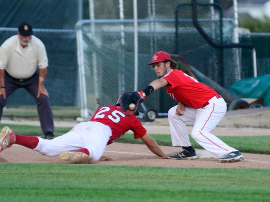 Great Lakes Neal Post 743's Kaleb Smothers is safe