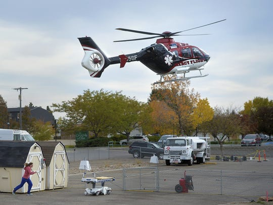 The Benefis Mercy Flight helicopter lands at Benefis.