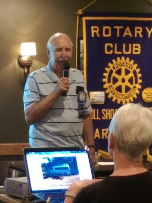 Rotarian Don Curtis tells fellow members of Bull Shoals-Lakeview Rotary Club about a mission trip to Nicaragua.