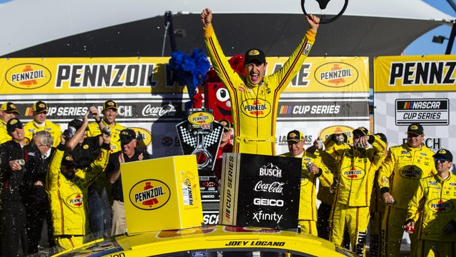 Joey Logano won for the second straight year at Las Vegas Motor Speedway and celebrated his 24th career victory overall.