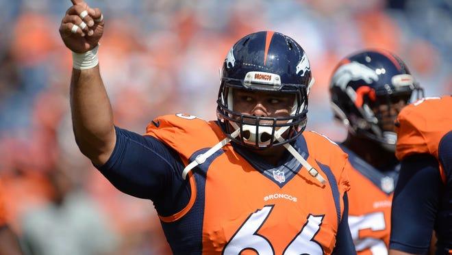Denver Broncos center Manny Ramirez gets ready to play against the Kansas City Chiefs.