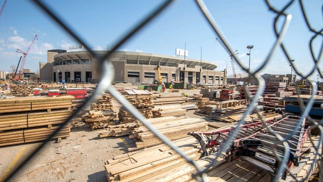 Notre Dame stadium during construction