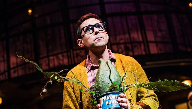 """Fairfield native Nick Cearley stars as Seymour in """"Little Shop of Horrors,"""" playing Jan. 26-Feb. 19 in the Playhouse in the Park's Marx Theatre. Previews begin Jan. 21. Here, he is seen in a performance at Portland (Ore.) Center Stage, which co-produced the show."""