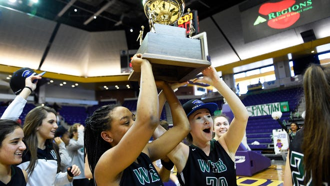Webb players celebrate after winning a Division II-A girls basketball championship game at Lipscomb University Saturday, March, 3, 2018.Webb won 55-42.