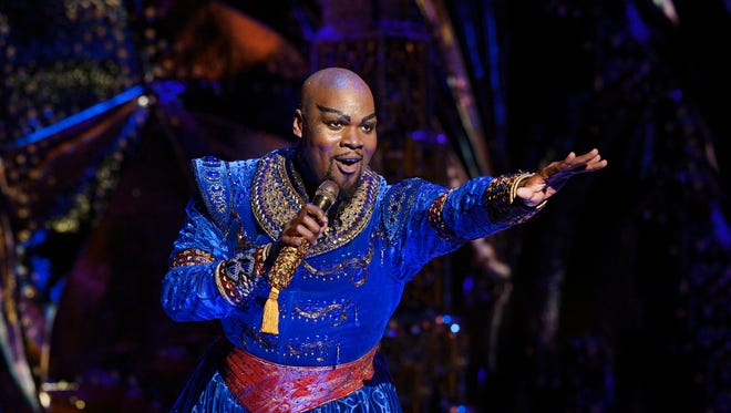 """Michael James Scott plays the Genie in the North American tour of the Broadway musical """"Aladdin,"""" which runs May 29-June 10 at the Aronoff Center."""