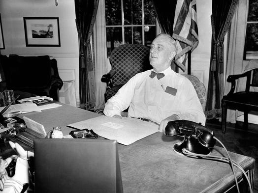 "1944: President Franklin Roosevelt announces the D-Day invasion has begun and leads the nation in prayer. ""Almighty God: Our sons, pride of our Nation, this day have set upon a mighty endeavor, a struggle to preserve our Republic, our religion, and our civilization, and to set free a suffering humanity."""