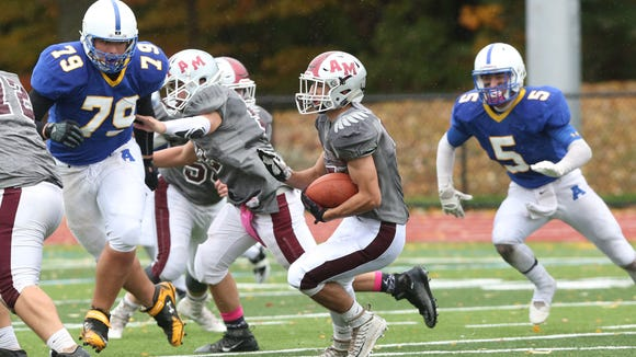 Ardsley defeated Albertus Magnus 22-16 in football action at Edgemont High School Oct. 22, 2016.