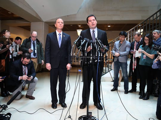 House Intelligence Chairman Devin Nunes and ranking member Adam Schiff speak to the media about the committee's investigation into Russian interference in the U.S. election on March 15, 2017.