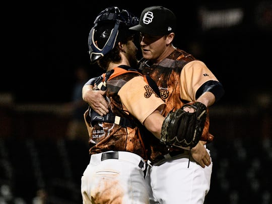 Tyler Zombro, right, has 31 strikeouts and just five walks through June 27 as a relief pitcher for the Bowling Green Hot Rods. Zombro, who played for Lee High, is in the Tampa Bay Rays organization.